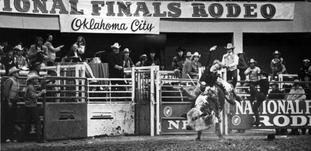 photo - Bull rider Donnie Gay competes at the National Finals Rodeo. Photo by The Oklahoman Archive