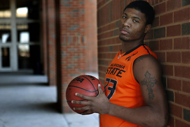 photo - COLLEGE BASKETBALL: OSU's  Marcus Smart poses for photos at Oklahoma State University at Gallagher-Iba Arena in Stillwater, Monday February  11, 2013. Photo By Steve Gooch, The Oklahoman