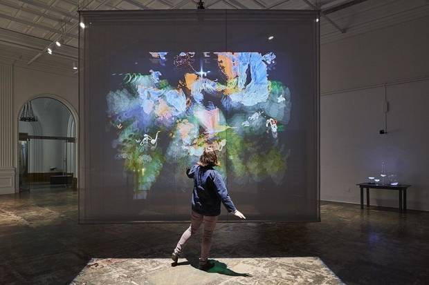 "Artist Camille Utterback created ""Entangled,"" a dual-channel interactive installation on scrims, in 2015 as a commision Contemporary Jewish Museum, San Francisco. An interactive exhibit from Utterback will be featured in ""Bright Golden Haze,"" the inaugural exhibition at the new Oklahoma Contemporary Arts Center, opening in March 2020. [JKA Photography]"