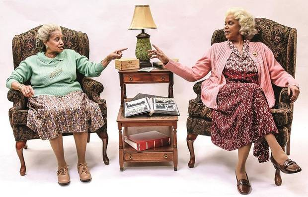 "Terry Burrell, right, portrays Bessie and Julia Lema as Sadie in Lyric Theatre's production of ""Having Our Say."" [K. Talley Photography]"