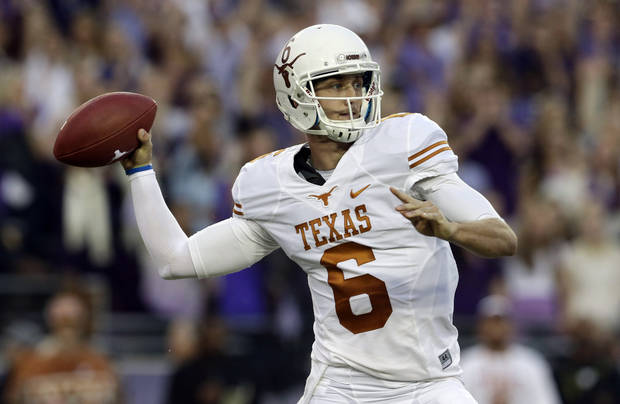 photo - Texas quarterback Case McCoy (6)  passes during the first half of an NCAA college football game against TCU, Saturday, Oct. 26, 2013, in Fort Worth, Texas. (AP Photo/LM Otero)