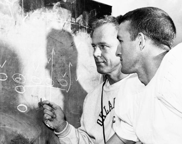photo - TOP: Former OU quarterback Jimmy Harris, right, shown with coach Bud Wilkinson in 1956. Harris said the reason he came to Oklahoma was because of Wilkinson. ABOVE: Harris in 1955. Harris quarterbacked two Sooner national championship teams: 1955 and 1956. AP AND THE OKLAHOMAN ARCHIVE PHOTOS