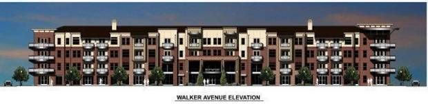 photo - This rendering for the Edge shows a revised design along Walker Avenue that now includes the leasing office, clubhouse and retail replacing apartments on the ground floor.  Provided