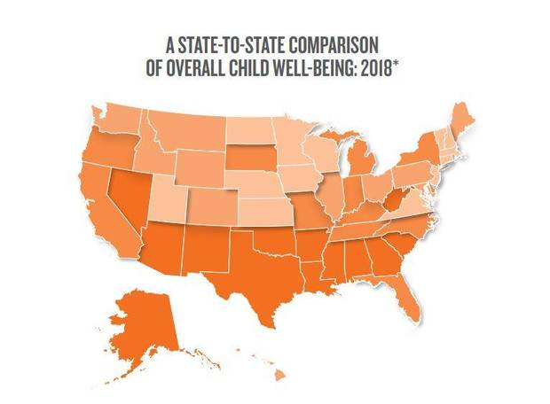 Darker-shaded states rank lower in children's overall well-being. [Illustration by the Annie E. Casey Foundation]
