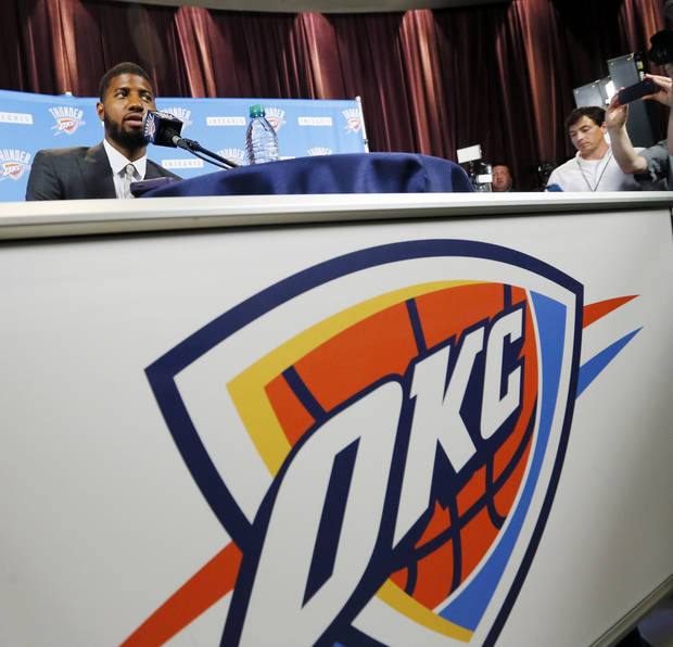 New Thunder player Paul George speaks to the media during an introductory press conference at the 21c Museum Hotel in Oklahoma City, Wednesday, July 12, 2017. Photo by Nate Billings, The Oklahoman