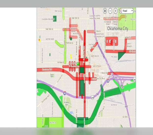 Ongoing projects in downtown Oklahoma City are marked in red, green and yellow.
