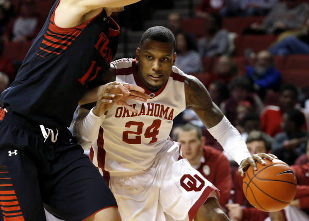 photo - OU: Oklahoma's Romero Osby (24) goes under Texas Tech's Dejan Kravic (11) during an NCAA college basketball game between the University of Oklahoma and Texas Tech University at Lloyd Noble Center in Norman, Okla., Wednesday, Jan. 16, 2013. Photo by Bryan Terry, The Oklahoman