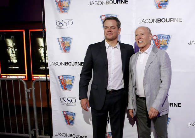 matt damon left and producer frank marshall pose for a photo on the