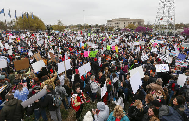 The rally on the south side of the state Capitol during a walkout by Oklahoma teachers. [Photo by Nate Billings, The Oklahoman]