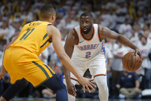 Raymond Felton tries to get past Utah's Dante Exum during Game 2 of the Thunder Jazz playoff series