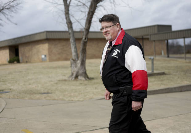 Greg Phares, principal of Fort Gibson Middle School, in the courtyard where the shooting happened Feb. 19, 2018. Phares was principal at the time of the shooting as well. MIKE SIMONS/Tulsa World