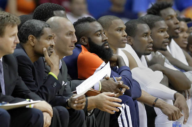 photo - Thunder fan favorite James Harden didn't play at all, and is shown here on the bench in the second half of their exhibition game at the BOK Center in Tulsa, OK, Oct; 19, 2012. MICHAEL WYKE/Tulsa World