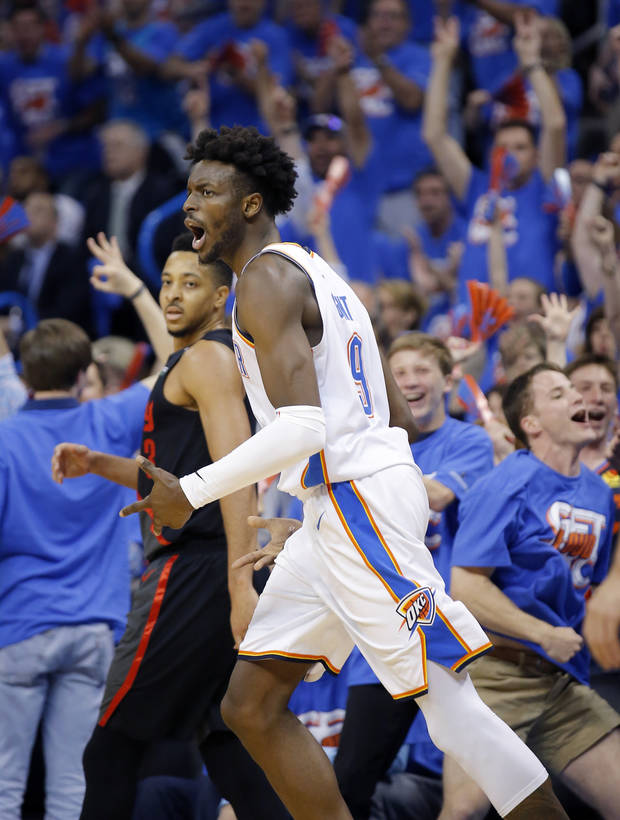 Jerami Grant celebrates a 3-point basket in Game 4 of the Portland playoff series. (Photo by Sarah Phipps)