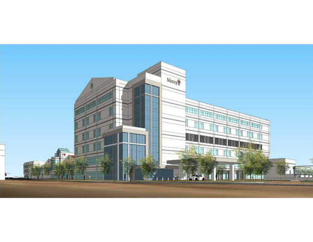 <p>Renderings of the planned new Mercy Hospital in south Oklahoma City next to the Oklahoma Heart Hospital South. [Photo provided]</p>
