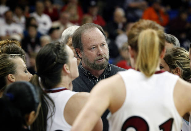 photo - Weatherford head coach Rick Wilson speaks to his team during a timeout during the Class 4A girls high school basketball state tournament semifinal game against Harrah Friday, March 12, 2009 at Oklahoma City University in Oklahoma City.  ORG XMIT: KOD
