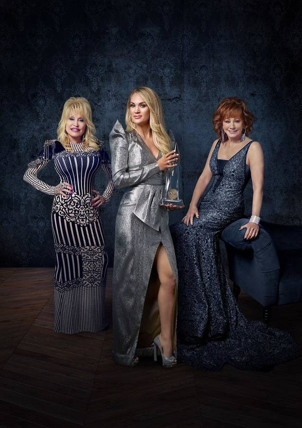 "The 53rd Annual CMA Awards"" hosted by Carrie Underwood with special guest hosts Reba McEntire and Dolly Parton, airs live at 7 p.m. Wednesday on ABC. [Photo provided]"