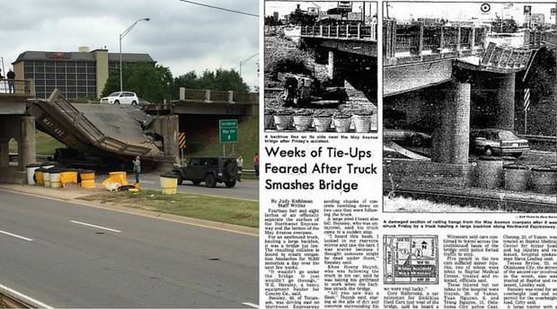 Left Photo via Brett Selby of Thursday's bridge collapse onto Northwest Expressway. Right Photo via The Oklahoman Archives