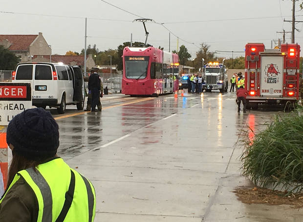 Embark transit and fire, police and ambulance services conducted an emergency drill Oct. 31 in preparation for the beginning of Oklahoma City streetcar service in December. [The Oklahoman Archive]