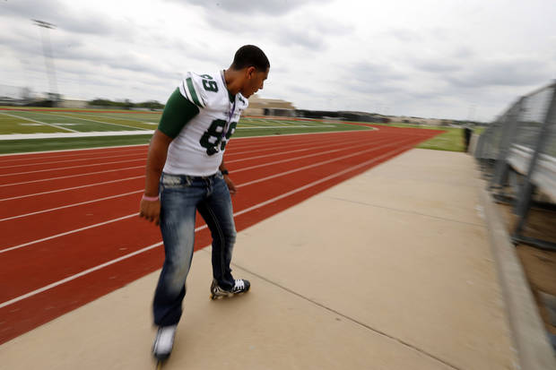 photo - HIGH SCHOOL FOOTBALL PLAYER: Payton Prince, Norman North football player, talks about football, friends, and his skating skills on Wednesday, June 19, 2013, in Norman, Okla.  Photo by Steve Sisney, The Oklahoman