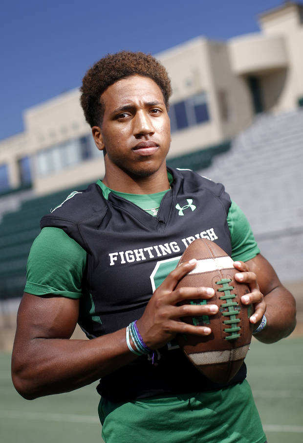 Dominic Richardson of Bishop McGuinness poses for a photo for The Oklahoman's Super 30 football series at Bishop McGuiness High School in Oklahoma City, Tuesday, June 25, 2019. [Bryan Terry/The Oklahoman]