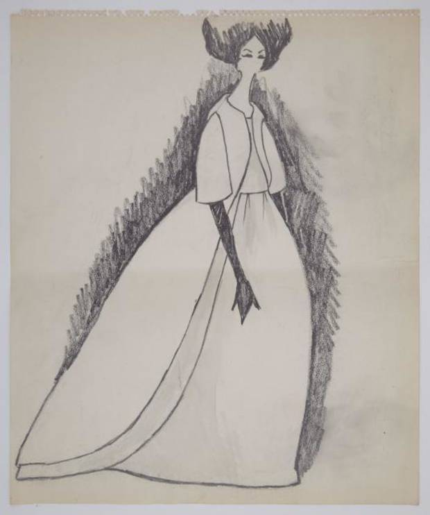 One lot in Oleg Cassini's estate auction includes 18 large Kennedy-era original fashion sketches of mostly evening gowns and dresses, including a pencil drawing likely of Jacqueline Kennedy's Inaugural Gala gown.
