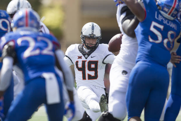 Oklahoma State kicker Matt Ammendola was one of the few bright spots in the Cowboys' special teams play on Saturday. [PHOTO BY BRUCE WATERFIELD, Courtesy OSU Athletics]