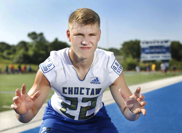 Choctaw High School linebacker Jeff Roberson, who is committed to OSU, is profiled for The Oklahoman's Super 30 feature series. Roberson poses during a photo shoot at the school's football field on Wednesday, July 10, 2019. [Jim Beckel/The Oklahoman]