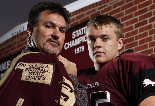 photo - Darren (father) and Tucker (son) Yarbrough on Wednesday, Dec. 5, 2012 in Blanchard, Okla.  Darren played on the 1979 Blanchard state championship team, and Tucker will play in the finals this week.  Photo by Steve Sisney, The Oklahoman