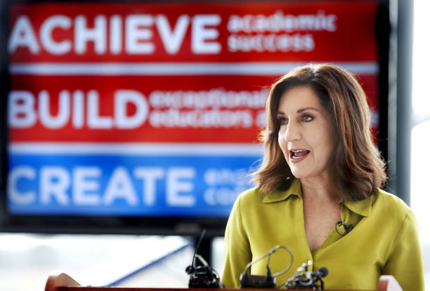 Oklahoma State Superintendent Joy Hofmeister delivers remarks to educators during the Superintendents' Advisory Council, hosted by the Oklahoma Public Schools Resources Center. Photo by Jim Beckel, The Oklahoman