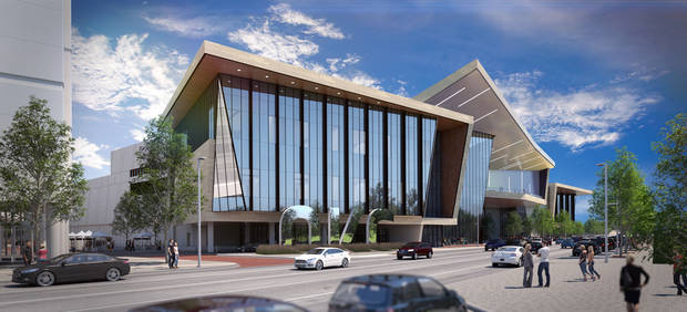 The Oklahoma City convention center is expected to open by June 2020. Construction begins this month. [City of Oklahoma City/GSB/Populous]