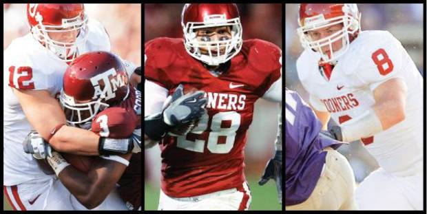 photo - From left, Austin Box, Travis Lewis and Ryan Reynolds will be pulling more of the weight at linebacker with the injury to Tom Wort and questions about the future eligibility of Mike Balogun. (Photos from The Oklahoman Archive)