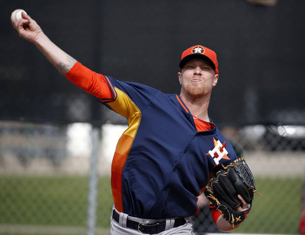 photo - Houston Astros pitcher Mike Foltynewicz throws during a spring training baseball workout, Tuesday, Feb. 25, 2014, in Viera, Fla. (AP Photo/Alex Brandon)