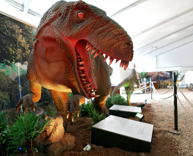 photo - A yangchuanosaurus model is one of the dinosaurs on display at a new exhibit at Oklahoma City Zoo.