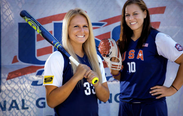 photo - USA Softball team members Jessica Shults and Keilani Ricketts, from left, pose for a photo during media day at ASA Hall of Fame Stadium in Oklahoma City, Okla. Monday, June 25, 2012.  Photo by Chris Landsberger, The Oklahoman Archives