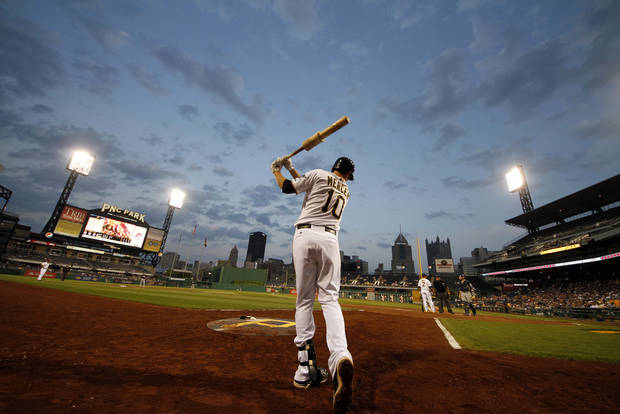 photo - Pittsburgh Pirates shortstop Jordy Mercer (10) warms up on-deck at PNC Park during a baseball game against the Milwaukee Brewers in Pittsburgh, Wednesday, May 15, 2013. The Pirates won 3-1. (AP Photo/Gene J. Puskar) ORG XMIT: PAGP120