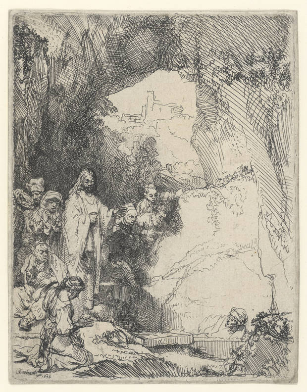 Rembrandt van Rijn (Dutch, 1606–1669). The Raising of Lazarus: Small Plate, 1642. Etching. Oklahoma City Museum of Art. Museum purchase from the Beaux Arts Society Fund for Acquisitions, 1965.019. Photo provided by OKCMOA