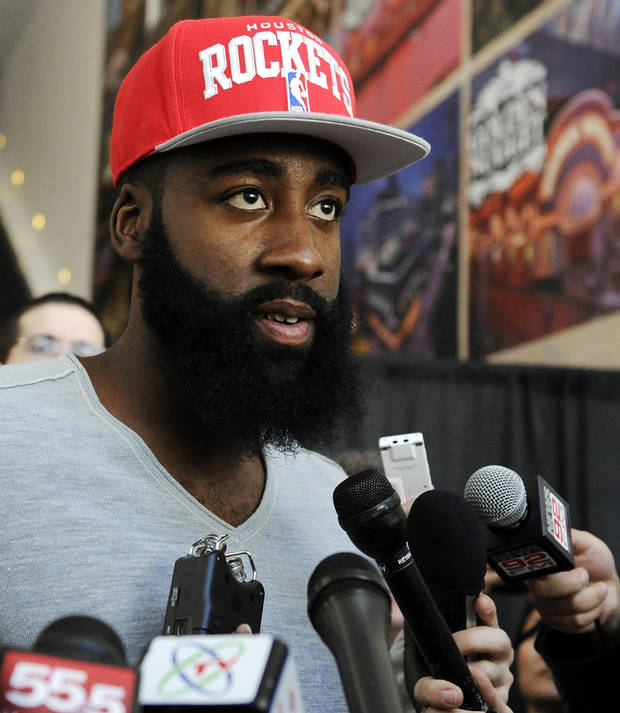 Newly acquired Houston Rockets guard James Harden speaks at an NBA basketball news conference, Monday, Oct. 29, 2012, in Houston. Rockets general manager Daryl Morey officially introduced Harden on Monday. Harden joined Houston in a stunning trade with the Oklahoma City Thunder on Saturday night. (AP Photo/Pat Sullivan) ORG XMIT: TXPS101