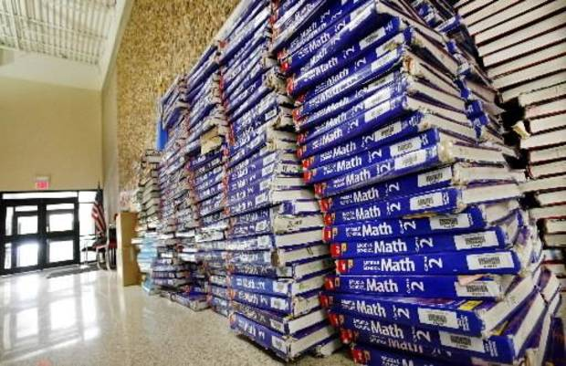 photo - School textbooks are seen in this photo by Jim Beckel. 