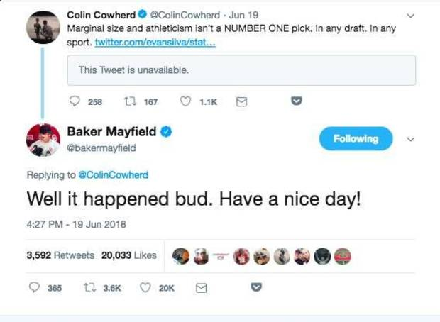 Baker Mayfield fires back at Colin Cowherd for constant criticism