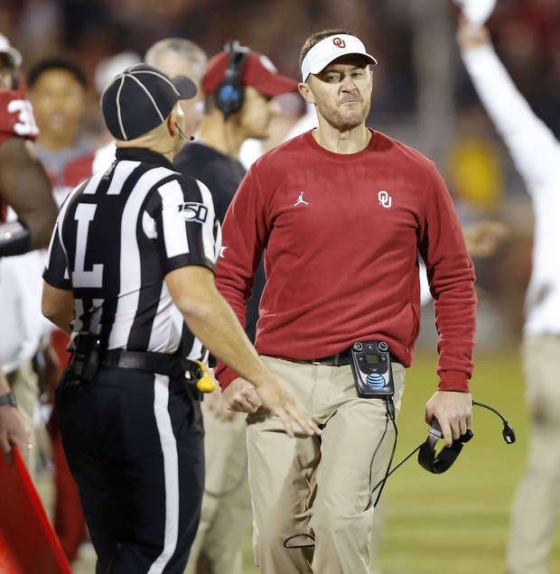 Oklahoma coach Lincoln Riley runs toward an official after a flag was picked up during an NCAA football game between the University of Oklahoma Sooners (OU) and the Iowa State University Cyclones at Gaylord Family-Oklahoma Memorial Stadium in Norman, Okla., Saturday, Nov. 9, 2019. [Bryan Terry/The Oklahoman]