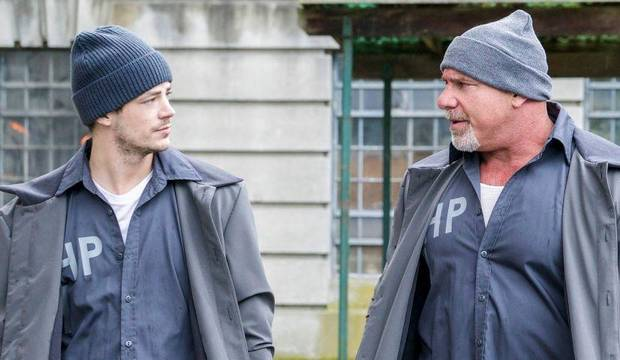 "Grant Gustin and Bill Goldberg on ""The Flash."" [CW Photo]"