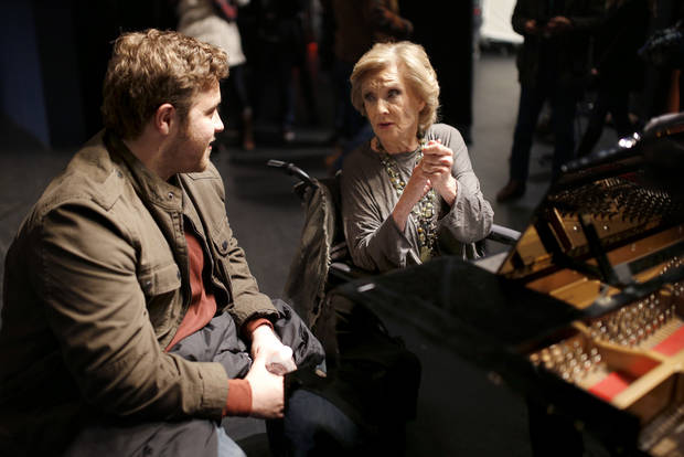 "Cloris Leachman talks with J. Michael Finley on the set of ""I Can Only Imagine"" at the Oklahoma City Civic Center. [Photo by Sarah Phipps, The Oklahoman]"