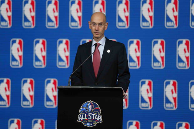 photo - NBA Commissioner Adam Silver speaks at a news conference before the skills competition at the NBA All Star basketball weekend, Saturday, Feb. 15, 2014, in New Orleans. (AP Photo/Bill Haber)