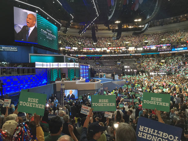 U.S. Sen. Cory Booker speaking at the convention. -- Photo via Bill Dower, an Oklahoma delegate attending the Democratic National Convention in Philadelphia.