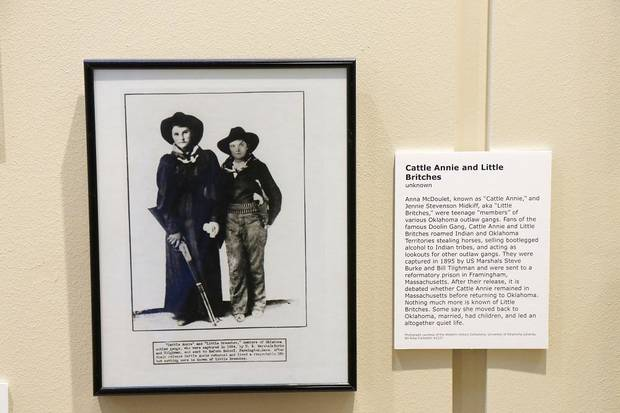 "A photo of Cattle Annie and Little Britches is featured in the exhibit ""Wanted: Dead or Alive"" on display until Feb. 29 at the Oklahoma History Center. [Photo by Doug Hoke/The Oklahoman]"