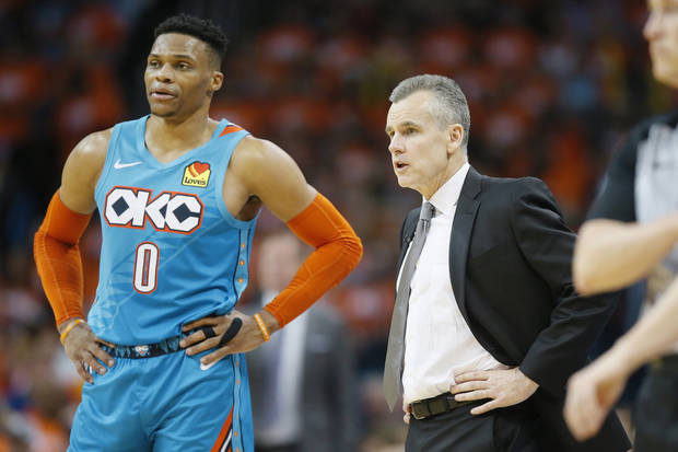 Oklahoma City coach Billy Donovan talks with Russell Westbrook (0) during Game 3 in the first round of the NBA playoffs between the Portland Trail Blazers and the Oklahoma City Thunder at Chesapeake Energy Arena in Oklahoma City, Friday, April 19, 2019. Oklahoma City won 120-108. Photo by Bryan Terry, The Oklahoman