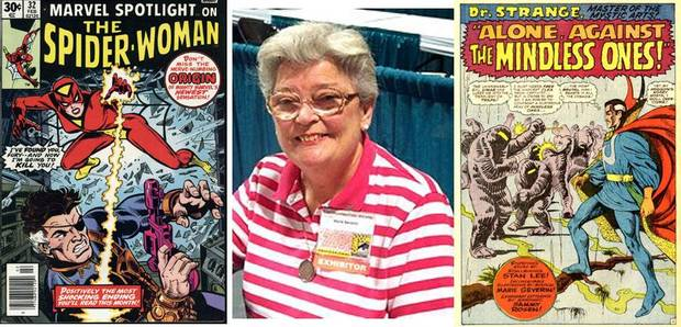 Marie Severin and some of her best-known works. [photo via cbldf.org]