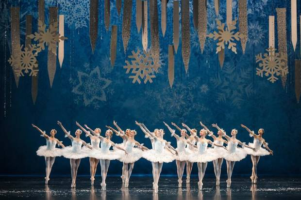 Oklahoma City Ballet dancers appear in the snowflake scene from The Nutcracker which will be performed on December 14-22. [KATE LUBER]