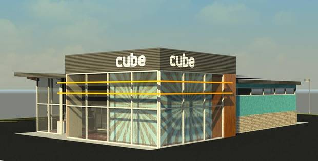 photo -  A view of the first Cube store under construction in Norman. Drawing provided