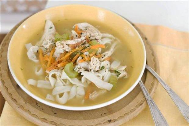 photo - In this image taken on January 7, 2013, chicken and shirataki noodle soup is shown served in a bowl in Concord, N.H. (AP Photo/Matthew Mead)